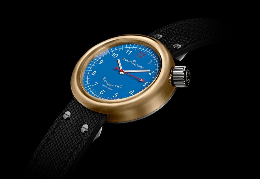 GM MANOMETRO COMPRESSED BRONZE 3 4 blue dial