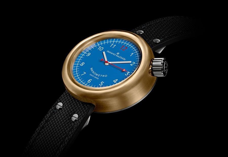 GM MANOMETRO BRONZE 3 4 blue dial