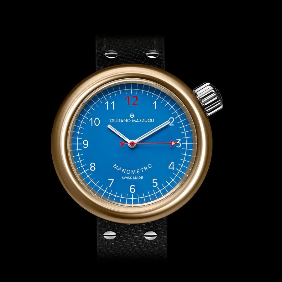GM MANOMETRO BRONZE Front View blue dial
